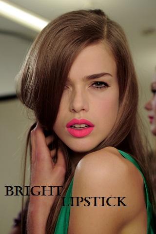 coral bright lipstick