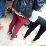 oxblood jeans