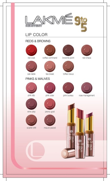 lakme Lip Color 9 to 5  Shade card