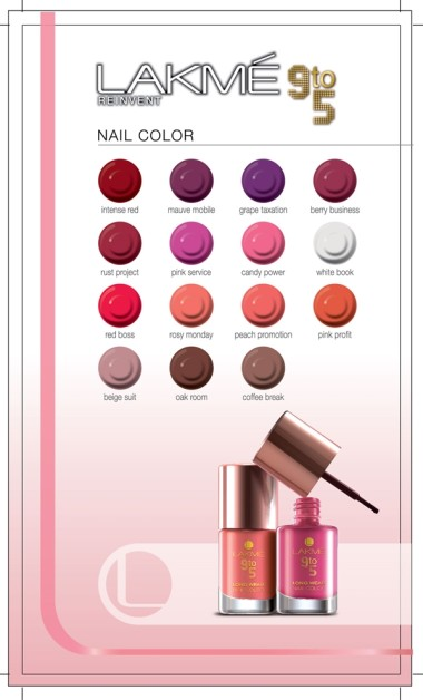 lakme Nail Color 9 to 5  Shade card