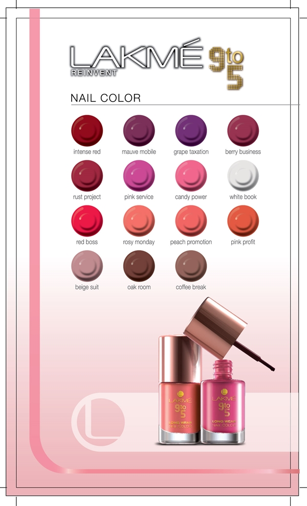 lakme Nail Color 9 to 5 Shade card|Vanitynoapologies ...Lakme Lipstick Shade Card With Shade Number With Price