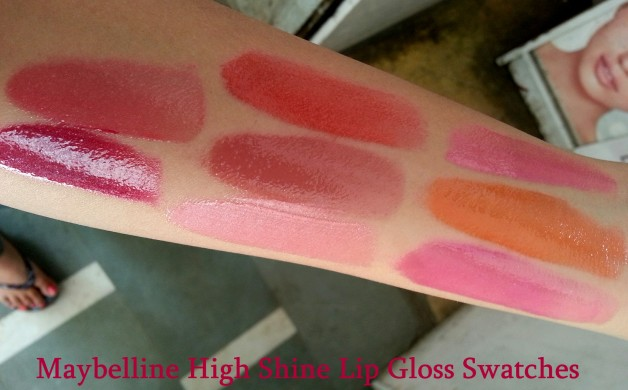 maybelline high shine swatches