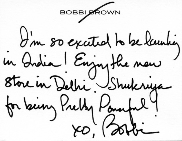 note from bobbi brown to india