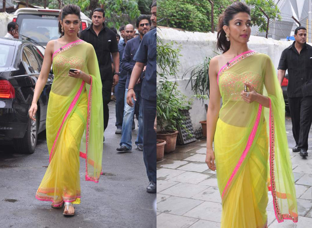 Deepika Padukone in neon saree