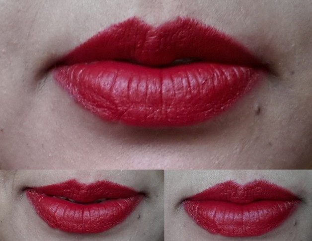 Mac Russian Red Swatch on Lips