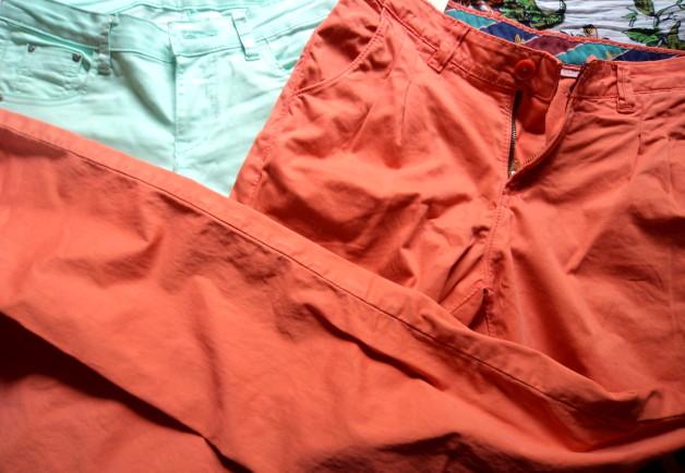 orange peach jeans