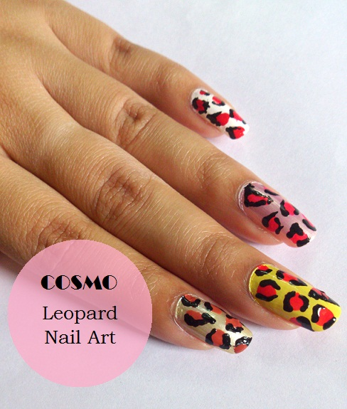 colourful leopard nail art tutorial design- or cosmopolitan India magazine
