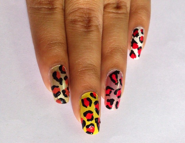 colourful leopard nail art design step by step