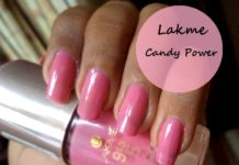 lakme 9-to-5 long wear nail color candy power review