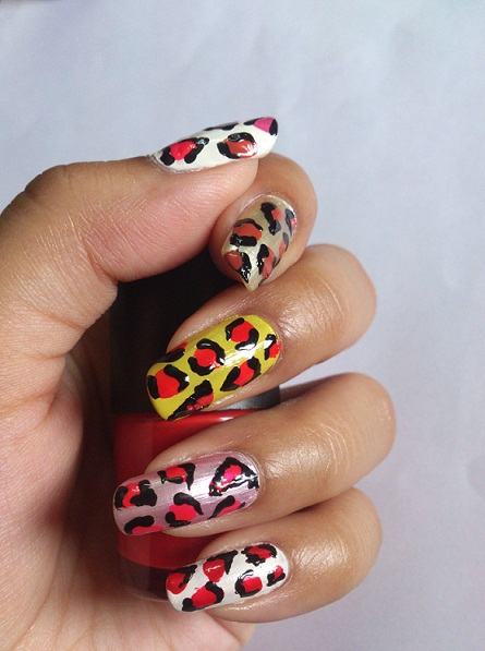 neon leopard nail art photo