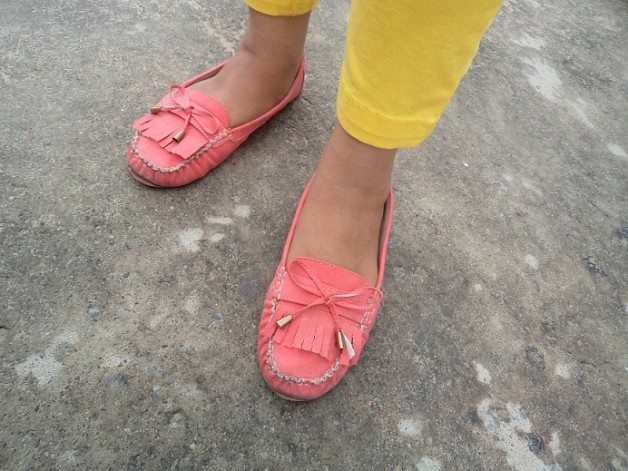 peach loafers