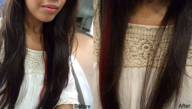 before after hair spa treatment photo