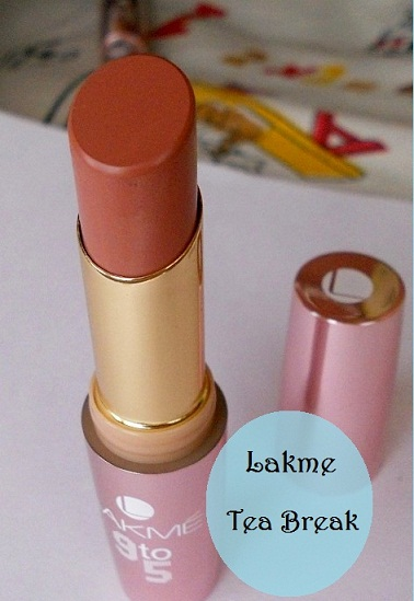 Lakme 9 to 5 Lipstick Tea Break Review