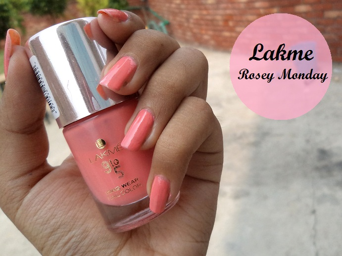 lakme 9 to 5 long wear nail color rosey monday notd
