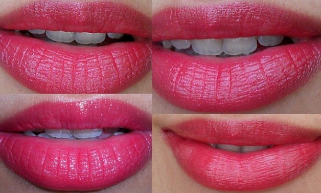 L'oreal Paris Glam Shine Balmy Gloss (Lip Crayon) 909 Pomegranate Punch- Swatches on lips