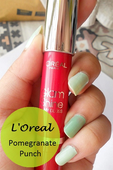 l'oreal paris Glam Shine Balmy Gloss lip crayon Pomegranate Punch review