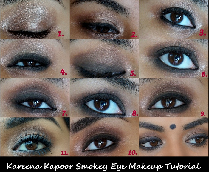 kareena kapoor inspired smokey eye makeup tutorial step by step collage photo