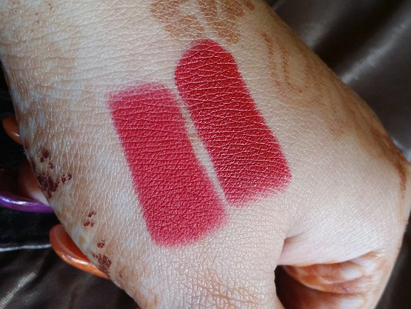 mac ruby woo russian red swatch comparison