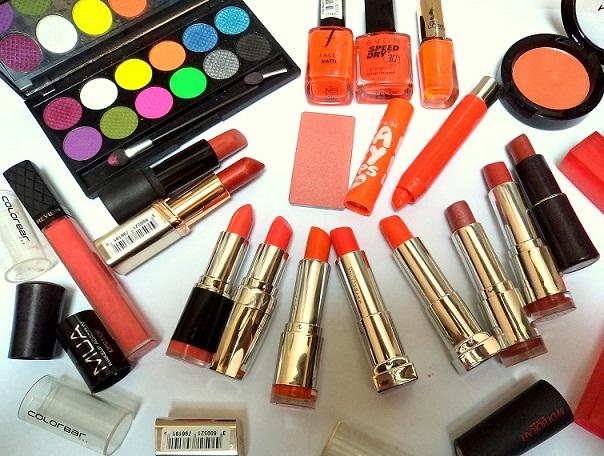 my orange makeup lipsticks eyeshadows blushes collection