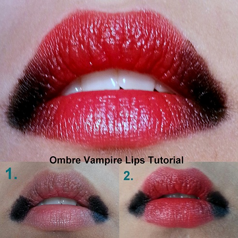 ombre red black lips tutorial