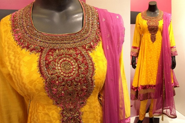 pink yellow suit dupatta shopping india