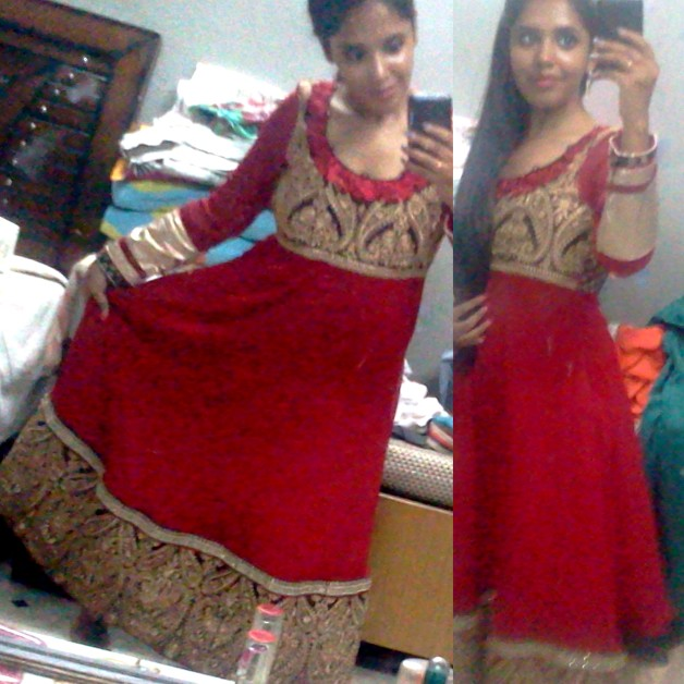 red anarkali wedding suit