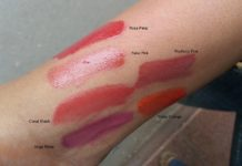 colorbar pout in a pot lipcolor rosa petal fable pink coral slash ange rose hythmic pink tricky orange swatches