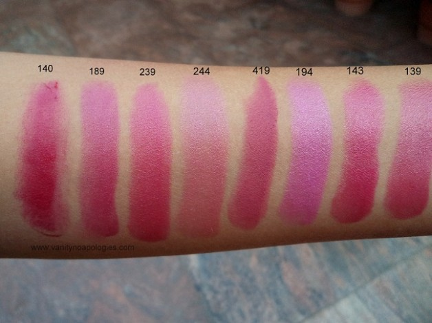 inglot lipsticks pink shades swatches photo