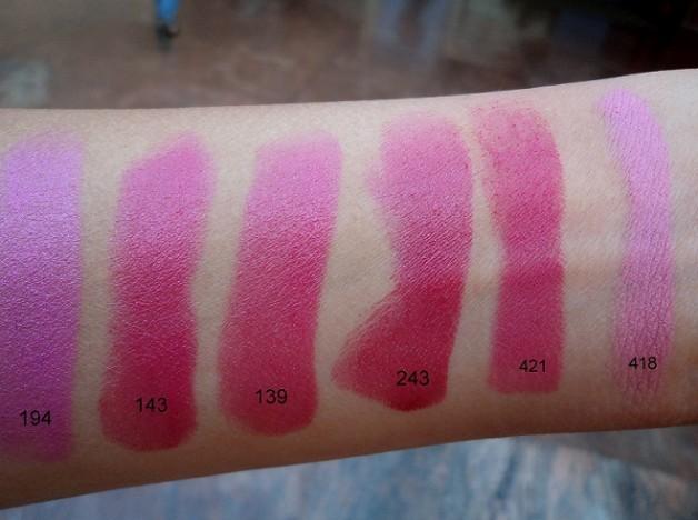 inglot pink lipstick swatches close up
