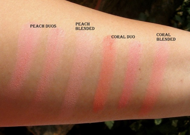 lakme absolute coral peach blush face stylist blush duos swatches natural light