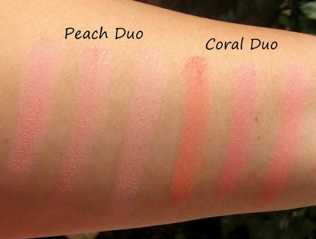 lakme absolute coral peach blush face stylist blush duos swatches