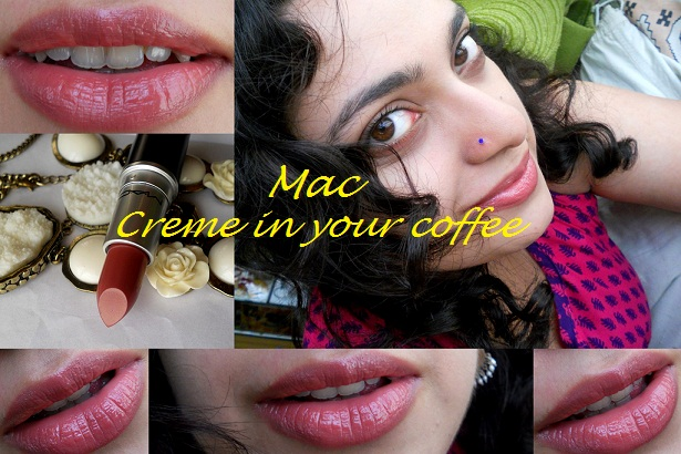 mac creme in your coffee lipstick swatch collage