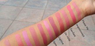 mac lipstick swatches pink shades natural light