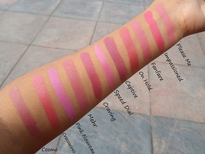 mac lipstick swatches pink shades natural light