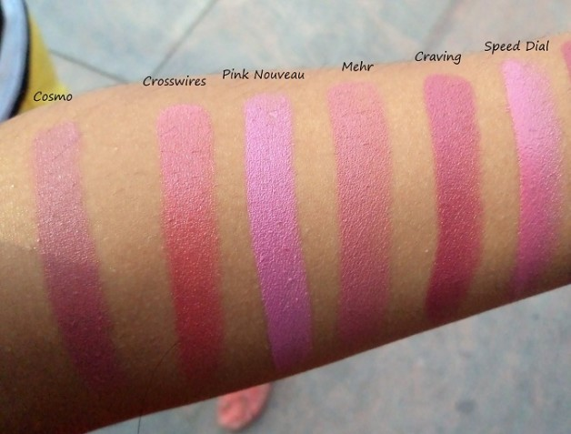 swatches mac mehr pink nouveau crosswires cosmo