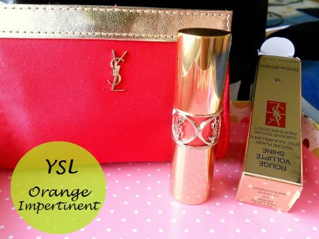 YSL Rouge Volupte Shine Lipstick Orange Impertinent 16 review