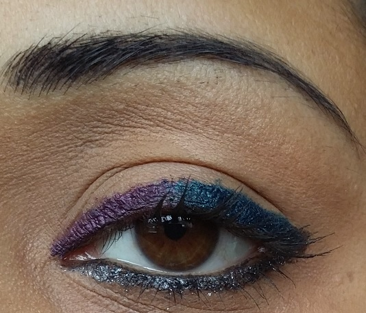colorbar i glide pencils flirty turq prunella coal mine swatches on eyes