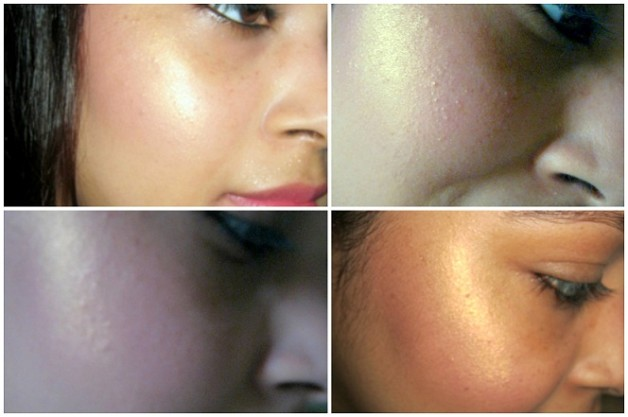 sleek rose gold blush swatch on cheeks indian skin tones