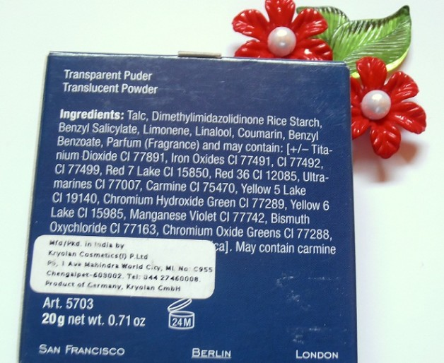 Kryolan translucent Powder review ingredients