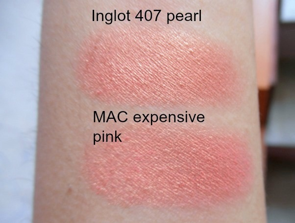 mac expensive pink eyeshadow review swatches inglot 407 dupe