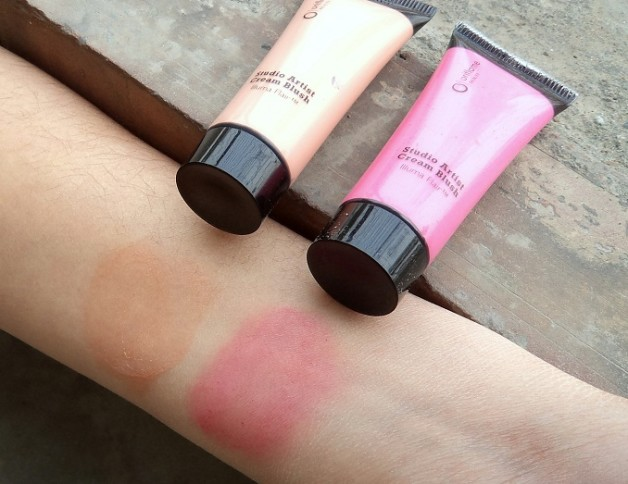 Oriflame Studio Artist Cream Blushes Soft Peach Pink Glow review swatches