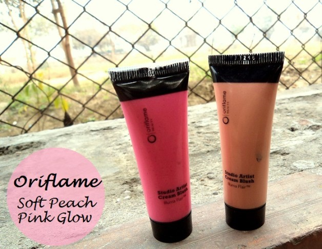 Oriflame Studio Artist Cream Blushes Soft Peach Pink Glow review swatches india