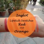 Inglot Red and Orange Lipsticks Swatches: 176, 127, 409, 408, 401, 105, 278
