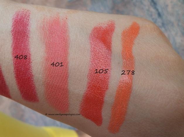 inglot orange lipsticks swatches 408 401 105 278