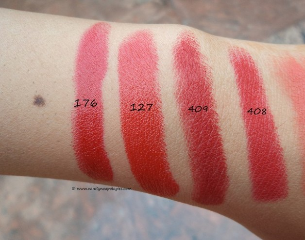 inglot red lipsticks swatches 176 127 409 408