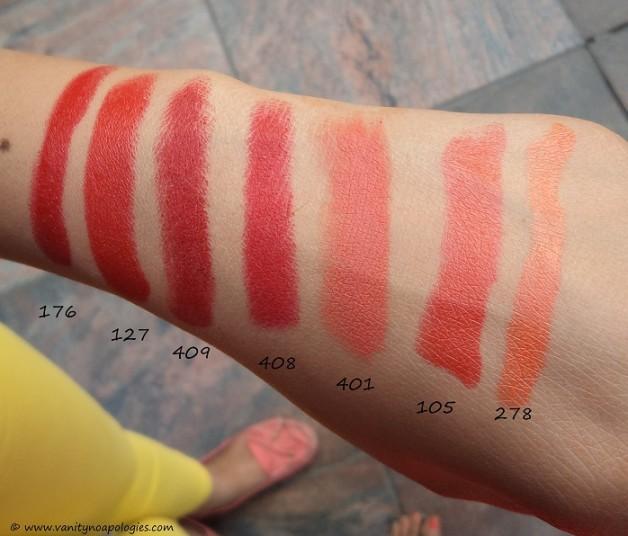inglot red orange matte lipsticks swatches 176 127 409 408 401 105 278