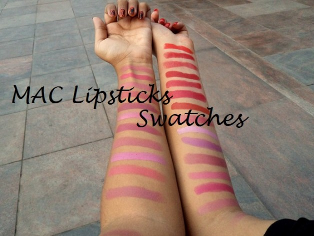 mac lipstick swatches fest red and pink shades
