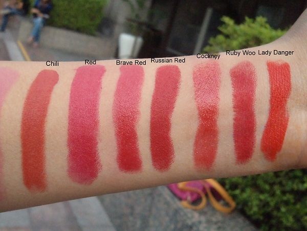 mac lipsticks swatches chili red brave red russian red cockany ruby woo lady danger