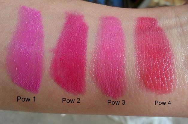 maybelline pink alert lipstick swatches pow1 pow2 pow3 pow4