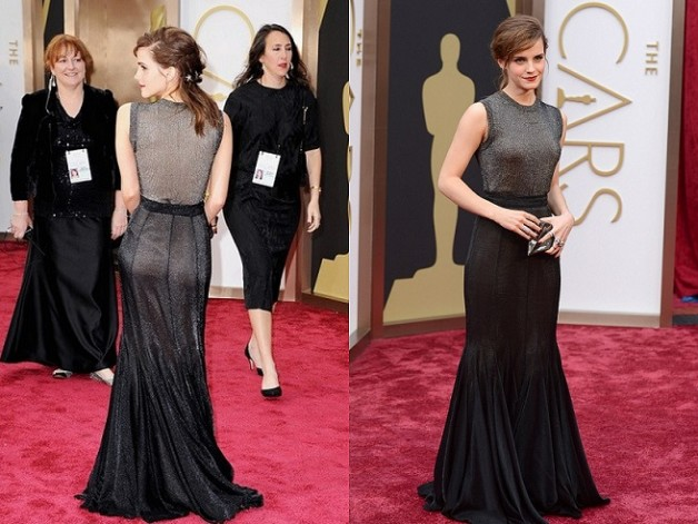 EMMA WATSON grey gown at red carpet OSCARS 2014